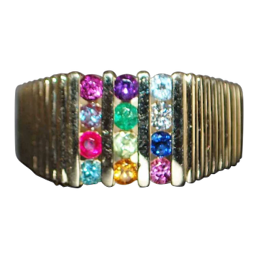 14K Large Man's Multi-Colored Stone Ring - 1980's