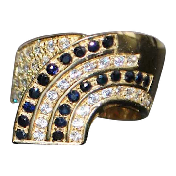 14K Italian Pave  Sapphire Ring - 1980's