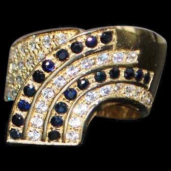 14K Italian Pave Diamond and Sapphire Ring - 1980's