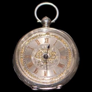 Swiss 935 Silver Pocket Watch, KWKS - 1890's