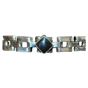 Sterling Silver and Onyx Line Bracelet - 1980's