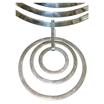 Large Sterling Silver Floating Circles Necklace - 1980's