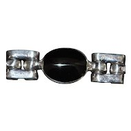 Mexican Black Onyx and 950 Silver Bracelet - 1980's