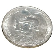 German Zwei Mark (Two Mark) Silver Coin - 1901