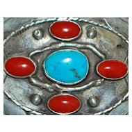 Navajo Turquoise and Red Coral Belt Buckle