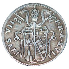 Italian Papal States Silver Grosso Coin - 1816