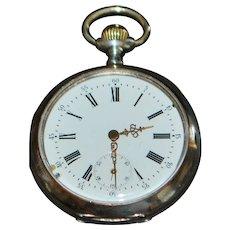 Swiss Galonne 800 Silver OF Pocket Watch -1890-1910