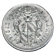 Papal States 10 Baiocchi Silver Coin - 1863
