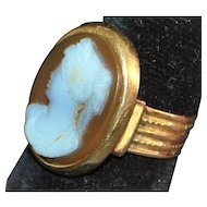 14K Victorian  Sardonyx Carved Cameo Ring - 1880's