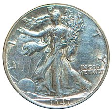 US Walking Liberty Silver Half Dollar - 1947