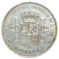 Large Spain Five Pesetas Silver Coin - 1871 (71) SDM