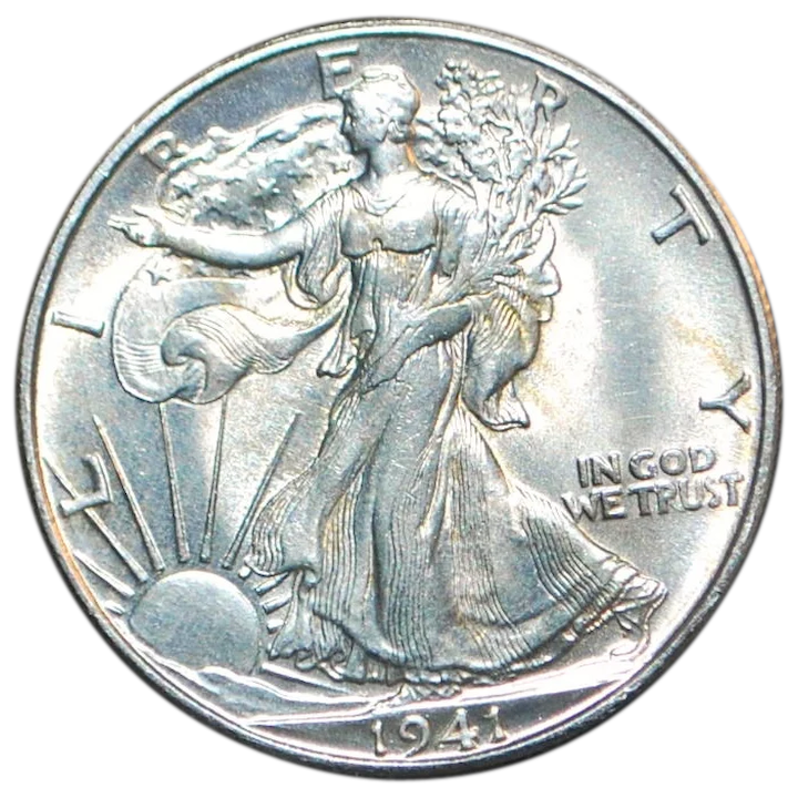 Us Walking Liberty Half Dollar Unc Coin 1941 D Antique World