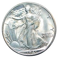 US Walking Liberty Half Dollar UNC Coin - 1941-D