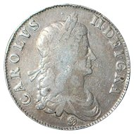 Large English Charles II Crown Silver Coin - 1662 -  Fine Details - Slabbed