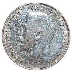English Silver Half Crown Coin - 1922