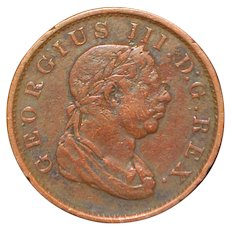 English George  III One Stiver Copper Coin - 1813
