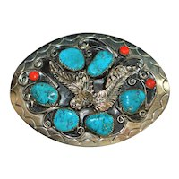 Navajo Sterling Turquoise and Coral Belt Buckle -1970's