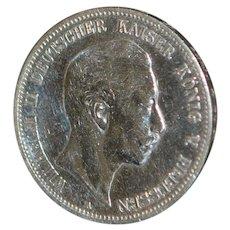 German Silver 5 Mark Coin - 1907 -A