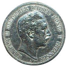 German Silver 5 Mark Coin - 1902 - A