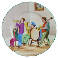 Colorful German Saxe HP  Plate, c. 1900