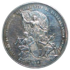 Swiss Silver 5 Franc Coin - Fribourg - 1881