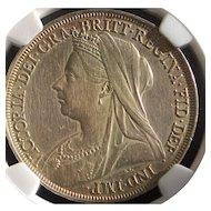 Great Britain Queen Victoria Silver Crown Coin - 1897