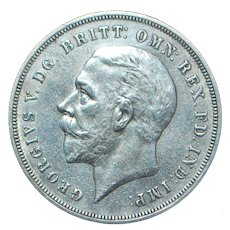 English Large Silver Crown Coin - 1935 - UNC