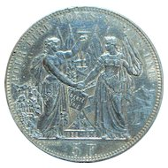 Large Swiss Silver 5 Franc Coin - Lausanne- 1876  - AU