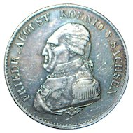 Large German States Silver Thaler Coin - Saxony -1823