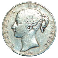 Large English Silver Crown Coin - 1844 - Small Date