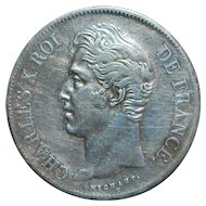 French Large 5 Franc Silver Coin - 1827 - M