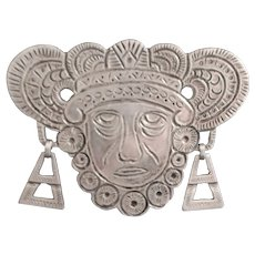 Early 0.900 Silver Aguilar Mask Brooch - 1940's