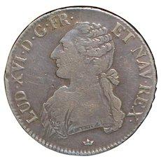 French Silver Ecu Coin - 1781 - M -VF-25