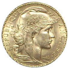 French 20 Franc Gold Coin - 1909 - UNC