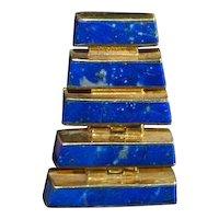 Gold over 950 Silver Lapis Dangle Earrings - 1980's
