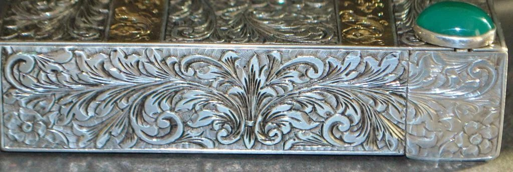 Florence 800 Silver Amp 18k Gold Highly Engraved Compact