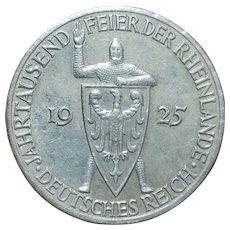 German Weimar Republic 5 Reichsmark Coin - 1925 - A