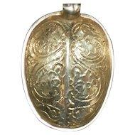 English Gild Sterling  Silver Engraved Salt Spoon - 1819