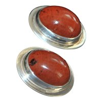 Large Sterling Silver and Red Agate Earrings - 1980's