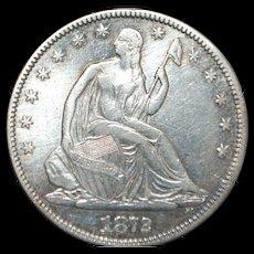 US Liberty Silver Half Dollar Coin - 1872 - XF