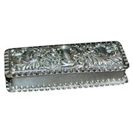 English Edwardian Sterling Repousse Scent Box - 1901