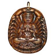 Chinese Hand Carved Soapstone Buddha Pendant -1900's