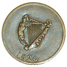 Half Penny Token - Canada - Irish Harp - King - 1820