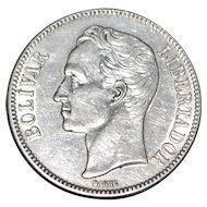 Venezuela Five Bolivares Silver Dollar - Mint State - 1936
