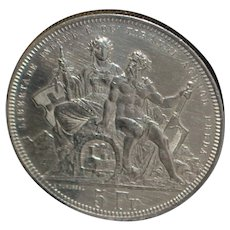 "Swiss 5 Franc ""Lugano"" Silver Coin - 1883"