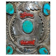 Large Navaho Turquoise and Coral Silver Cuff Bracelet, 1960's