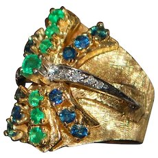 14K Heavy Emerald, Sapphire and Diamond Custom  Ring - 1960's