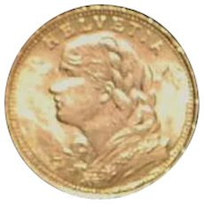 Swiss 20 Francs Gold Coin - 1930B
