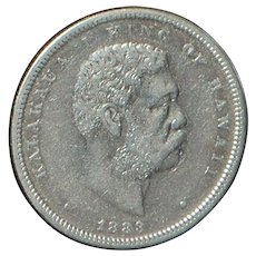 Hawaii 1/2 Dollar Silver Coin - 1883