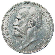 Liechtenstein One Krone Silver Coin - 1904